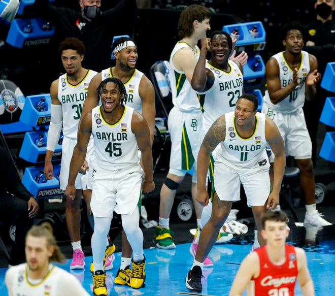 The Baylor bench celebrated as time ran out in  the team's defeat of Houston in the national semifinal at the Final Four in Indianapolis.