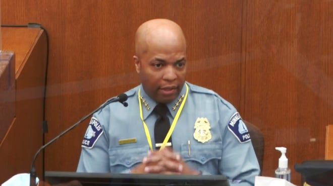 In this image from video, witness Minneapolis Police Chief Medaria Arradondo testifies as Hennepin County Judge Peter Cahill presides Monday, April 5, 2021.