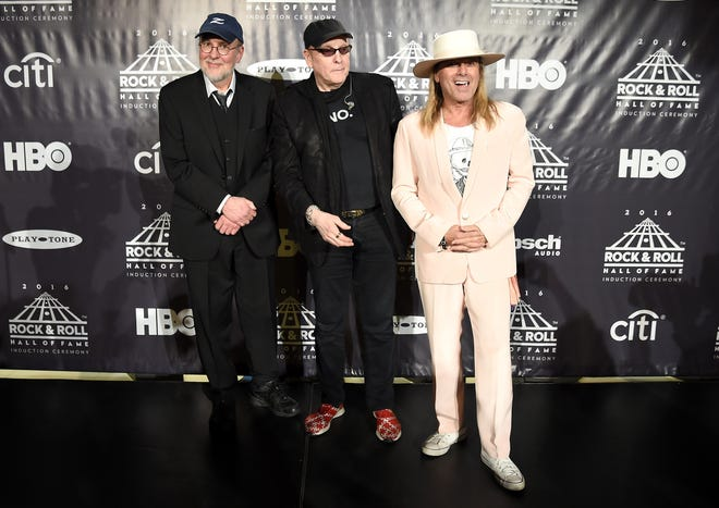 Bun E. Carlos, left, Rick Nielsen and Robin Zander at the 31st annual Rock Hall induction in Brooklyn, New York, in 2016.