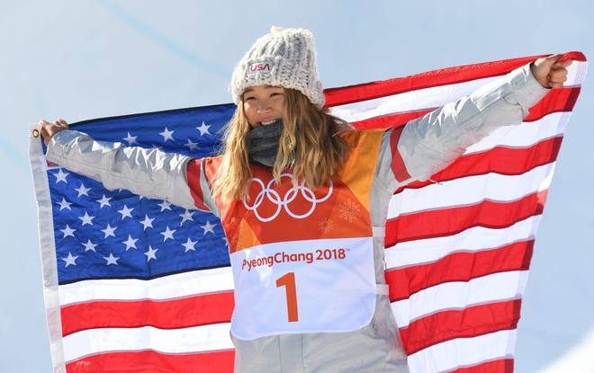 Gold medalist Chloe Kim (USA) celebrates after competing in the halfpipe event during the Pyeongchang 2018 Olympic Winter Games.