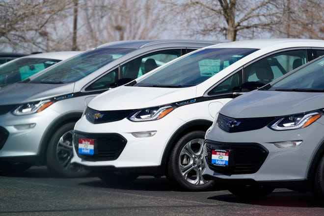 2021 Bolt electric vehicles on March 28, 2021, in Loveland, Colorado.