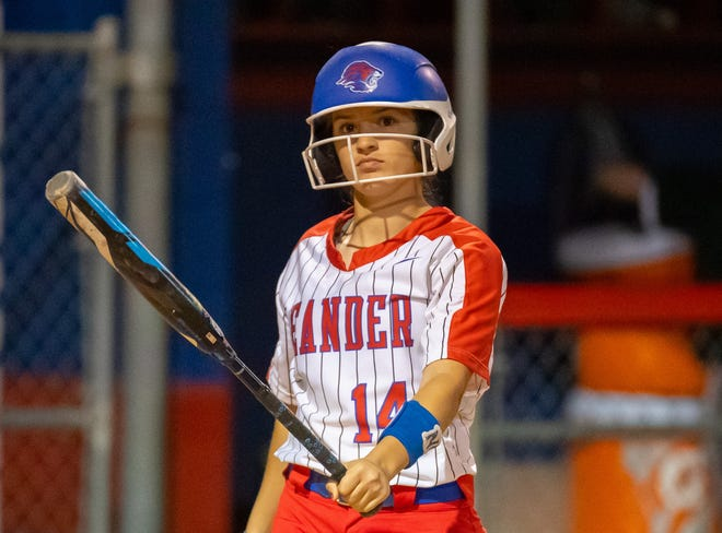 Leander catcher Marley Neises, preparing to bat against McNeil, said hitting a game-tying home run against Vista Ridge is her biggest softball thrill in high school.