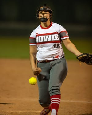Bowie's Emma Solis, a junior, batted .500 at the plate with two RBIs and threw 8 1/3 innings with 10 strikeouts in earning wins over both Hays and Austin High.