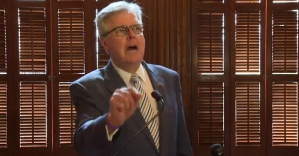 Lt. Gov. Dan Patrick, speaking Tuesday at a Capitol news conference, denounced opponents of GOP election bills.