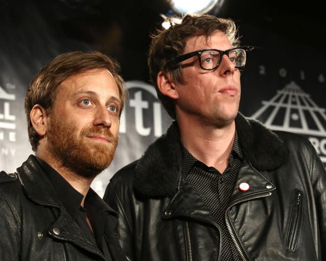 Dan Auerbach, left, and Patrick Carney of The Black Keys attend the Rock & Roll Hall of Fame induction ceremony April 8, 2016, at the Barclays Center in New York.