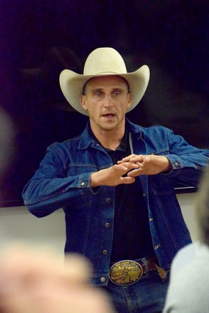 Professional bullfighter Frank Newsom speaks March 30 to a group of Clarendon College rodeo and ranch horse team members.