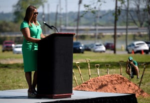 Kim Evans, CEO of the Boys & Girls Clubs of the CSRA, speaks Tuesday during the groundbreaking for two facilities for the HUB for Community Innovation.
