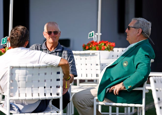 Sandy Lyle and Fuzzy Zoeller sat behind the clubhouse in advance of Tuesday night's Champions Dinner at Augusta National Golf Club.