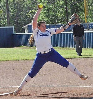 DeRidder pitcher Kaiya Scott, seen here in action from earlier this season, tossed a five-hitter, but it wasn't enough as the Lady Dragons fell on Monday to the Florien Lady Blackcats, 4-3.