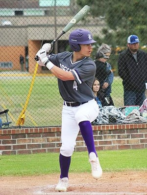 Rosepine leadoff hitter Jake Smith (4) had four hits, four RBIs and three runs scored in helping lead the Eagles to a huge road win over Kinder on Monday, 15-3.