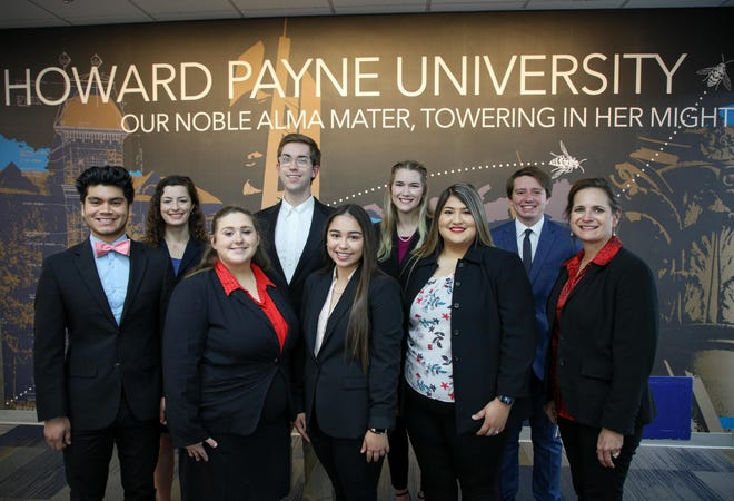 HPU's Student Speaker Bureau speech and debate team won debate sweepstakes and second place overall sweepstakes at the Texas Intercollegiate Forensics Association Spring Championship tournament. Pictured from left are Alek Mendoza, Lucy Manning, Abigail Poling, Parker Brown, Jewel Schoppe, Rishona Raub, Esmeralda Maldonado, Devin Schurman and Dr. Julie Welker.