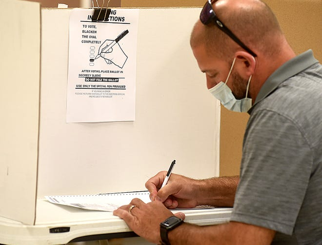 Thad Derboven votes on Tuesday at Precinct 38 of the UMC extension office at 1012 N. Highway UU. He said he wasn't concerned about voting in-person during the pandemic.