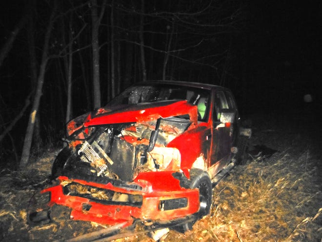 The alleged driver of this 2005 Ford pickup took off on foot after being extricated from the vehicle by the Wolverine Fire Department. The driver had rolled the vehicle on northbound I-75 Easter morning and had been trapped in the vehicle until the fire department helped him out of the rolled truck.