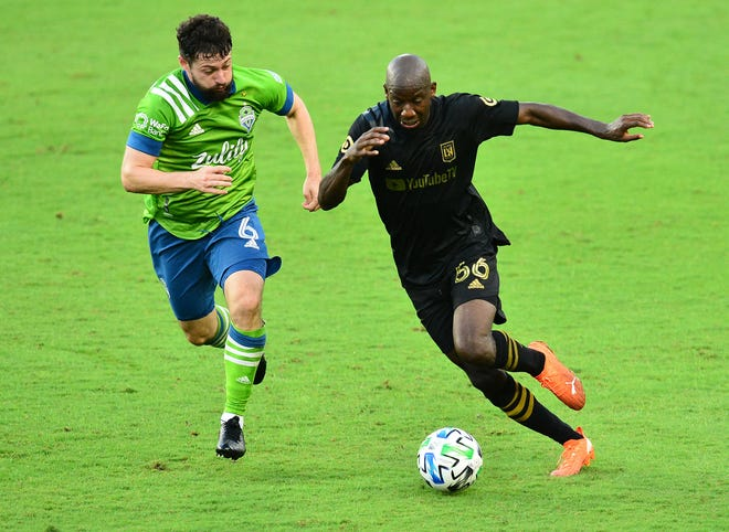 Bradley Wright-Phillips, seen here with the ball in a game against Seattle Sounders in 2020, will be one of the players expected to contribute at a high level for the Columbus Crew this season.