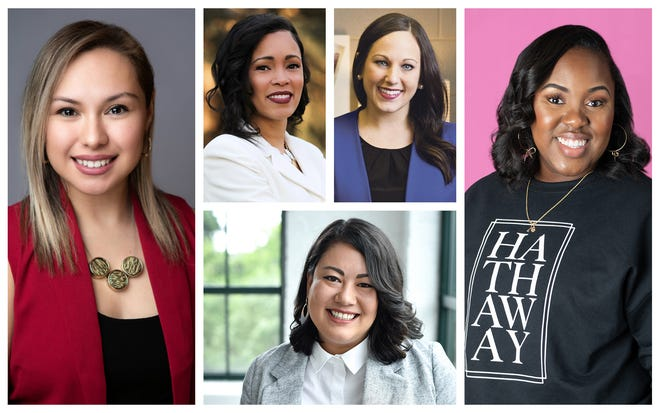 """The 2021 YWCA """"Women on the Rise,"""" clockwise from top left: Maria Cortez, Tawana Mims, Ally Zahler, Eryn Hathaway and Tanya Salyers. (Photos by Jehan Daugherty, Fern Walton, Rob Hardin, Dysheen Davis and Jen Brown, respectively.)"""