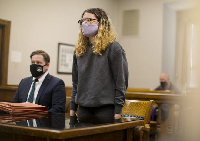 Miranda Spencer pleads guilty to the amended charge of obstructing official business, a second-degree misdemeanor in Hocking County Common Pleas Court on Tuesday. She was originally charged with obstructing justice, a third-degree felony. She took a plea deal for a lower sentence in relation to the death of Victoria Schafer on Labor Day 2019.