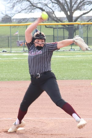 John Glenn freshman Sydney Marshall delivers a pitch during Monday's MVL softball game with Sheridan.