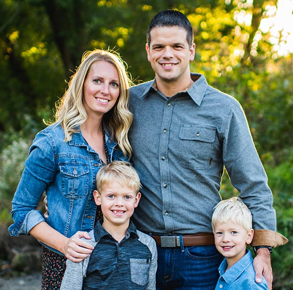 Nathan '04 and Laura Haumiller Gaskill '06 are pictured with their children, Ryne (left) and Levi.