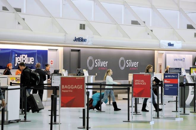 Silver Airways ticketing counter at Jacksonville International Airport.