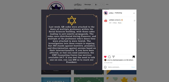 Antisemitic messaging was posted on the doors of Jewish professors' classrooms and offices at the University of North Florida last week, a student organization said Tuesday. Now, the school confirms it is investigating.