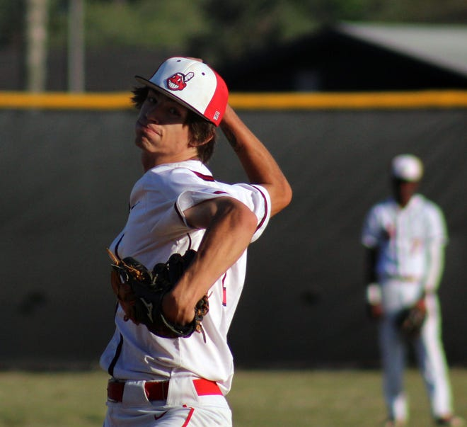 Parker starting pitcher Shane Ramey (2) delivers a pitch during Monday's game against Orange Park. Parker, at 9-6, enters among several contenders for next week's Gateway Conference baseball tournament.