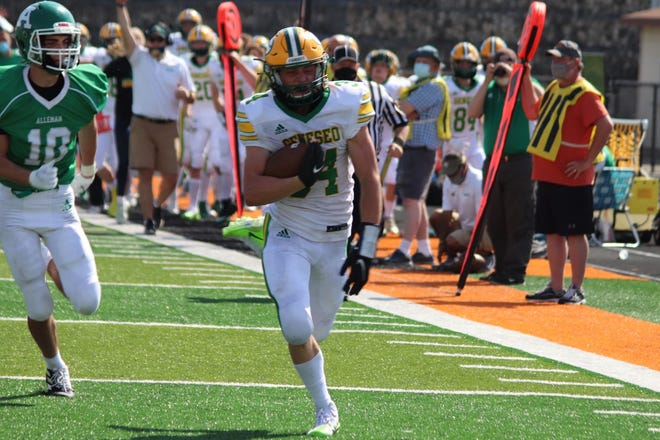 Geneseo's Bruce Moore rushed 44 times for a total of 214 yards and scored three touchdowns in the second half of Monday's game against Alleman when Geneseo beat the Pioneers 32-21.