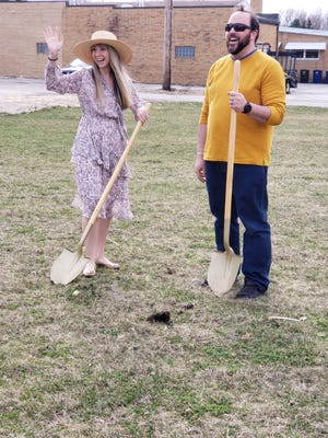 Crystal and Jared Strode celebrate the groundbreaking for Vibrant Health clinic,  which will be making its home in Cambridge.