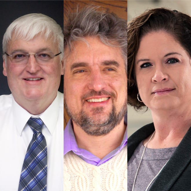 Galesburg candidates for mayor in 2021 were, from left, John Pritchard, Peter Schwartzman and Kristine Crow.