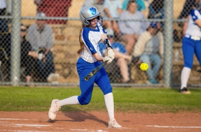 Van Alstyne's Paige Scarbro drove in four runs during the Lady Panthers' victory over Sanger in District 9-4A action.