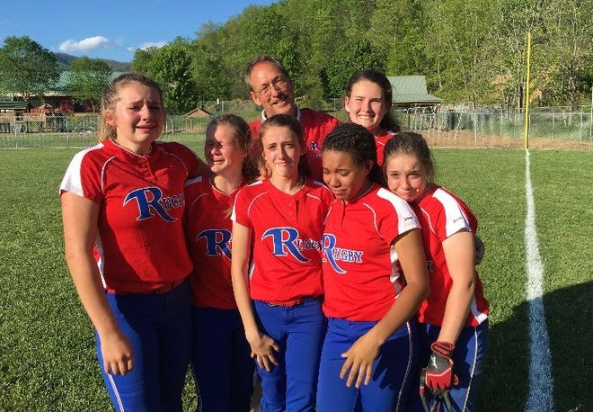 This photo was taken after the Fab 5's last middle school game together, and at rear is coach Hugh Green. From left to right are Mia McCall, Alisha Jones, Maci Anthony, Tia Howard and Madison Hall.