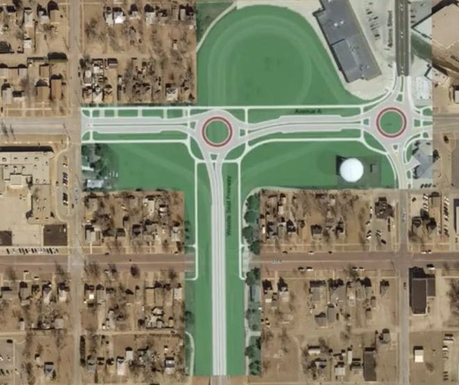 This drawing shows the proposed design of the Woodie Seat replacement project, which would eliminate a number of bridges, close Avenue B and install a pair of roundabouts on Avenue A.