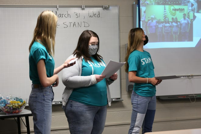 Members of the Newton High School STAND group were able to make their first visit to Chisholm Middle School in a year this week.