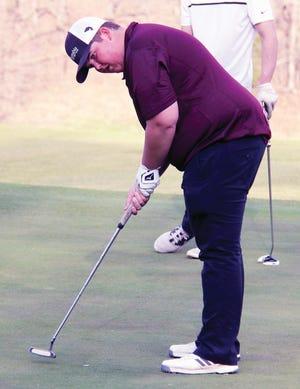 Osage's Zach Krantz looks to make a putt in a quadrangular at Osage National Golf Club in Lake Ozark on April 5.
