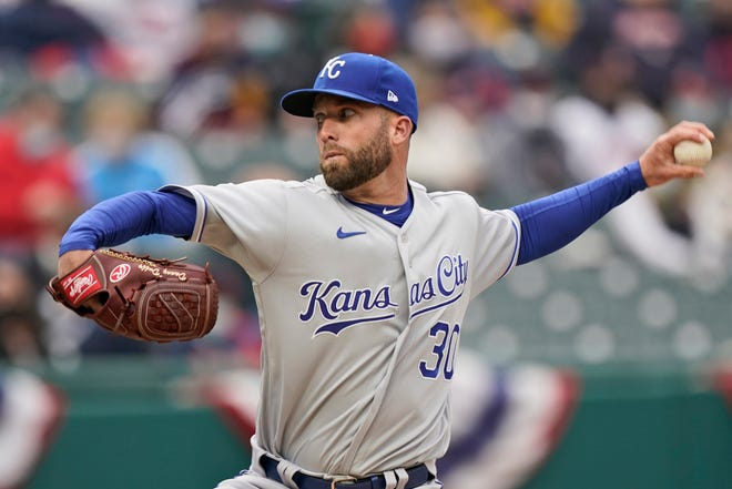 Kansas City Royals starting pitcher Danny Duffy delivers in the first inning of a baseball game against the Cleveland Indians, Monday, April 5, 2021, in Cleveland.