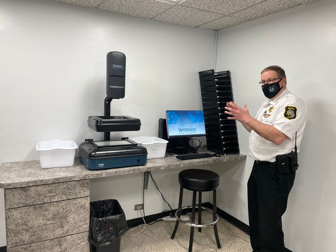 Monroe County Sheriff Troy Goodnough explains how his office discovered an Easter card laced with fentanyl using a special scanner.