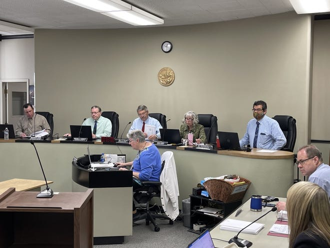 The Siskiyou County Board of Supervisors during their regular meeting on Tuesday, April 6, 2021. Sitting left to right are Brandon Criss, Michael Kobseff, Ray Haupt, Nancy Ogren and Ed Valenzuela.