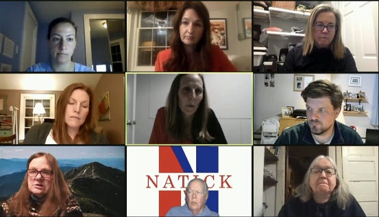 During Monday's night's virtual meeting of the Natick School Committee, Superintendent of Schools Anna Nolin announced that the freshman football and cheerleading teams at Natick High are in quarantine due to COVID-19 infections.