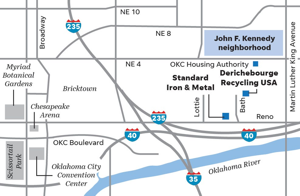 Map showing the John. F. Kennedy neighborhood and nearby scrapyards.