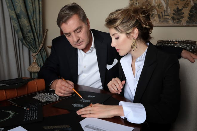 Lucrezia Buccellati (right) and her dad, Andrea, are co-creative directors of the Italian jewelry brand Buccellati. Lucrezia, also a jewelry designer and brand ambassador, plans a permanent move to Palm Beach in the fall.