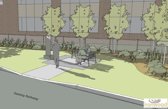 A preliminary conceptual rendering of the Black Heritage Park being proposed to be built behind the downtown entrance to Swasey Parkway. Jen Martel/Courtesy