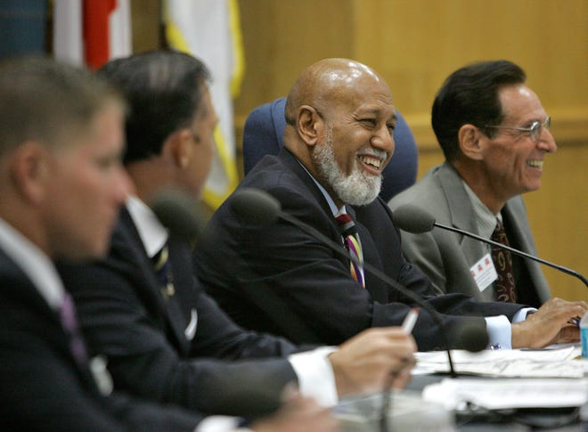 U.S. Rep. Alcee Hastings addresses the audience at the Palm Beach County Government Center during a town hall meeting on a proposed bill. The late congressman was honored by the Urban League Thursday along with two other men.