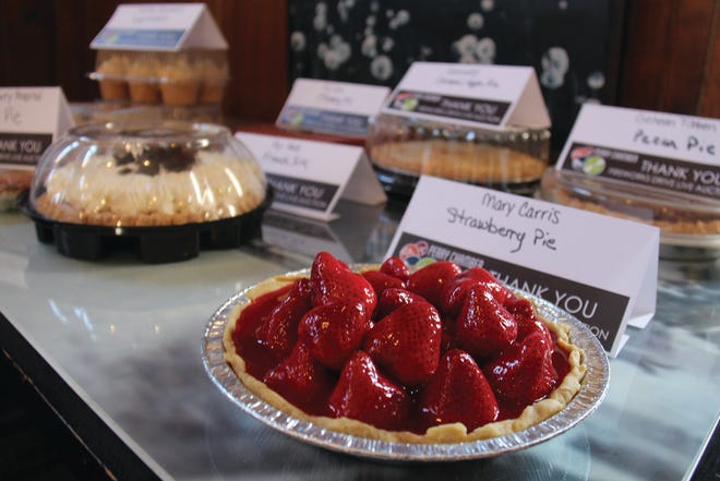Some of the pies ready to be auctioned off during the 2019 Perry Chamber of Commerce's annual dinner. The Chamber's radio pie auction will return on April 13.
