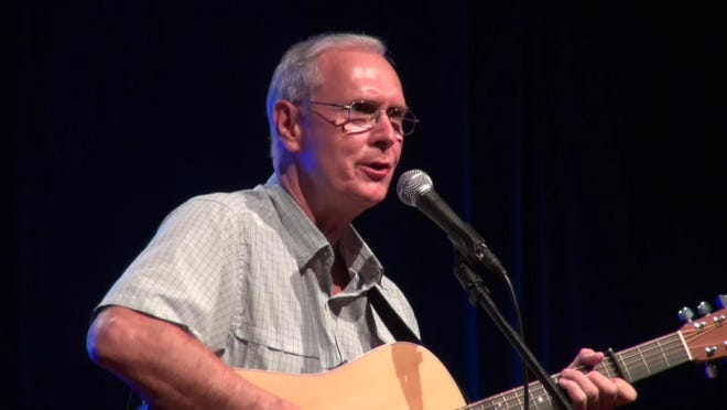 Steve Thompson plays guitar and sings a song he wrote for the Singer Songwriter contest at Don Gibson Theatre.