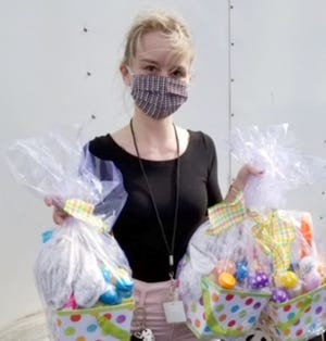 Danielle Robbins, a foster care specialist at Youth Guidance Foster Care and Adoption, was among participants in an Easter-basket distribution, organized by Hope United. More than 200 baskets were delivered through the project.