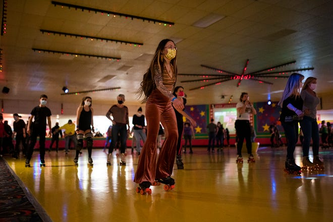 Andrea Alaimo skates some loops in style during the last skate at Roll On America before it closed its doors Monday evening. Owners Donald and Susan Perkins have decided to retire. They said the they received an out-of-the-blue offer for the building and the property that they couldn't refuse.