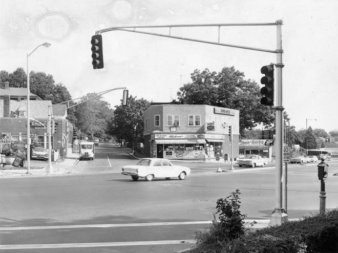 Gardner Square in Worcester was home to businesses that some longtime residents might recall: Maloney's, Mac-Ben, Bart Muffler Shop, and gas stations Esso, Merit and American. This photo is from Aug. 19, 1964.
