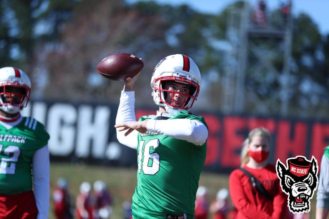 NC State freshman Aaron McLaughlin throws a pass during spring practice. The Wolfpack's spring football game is set for April 10.