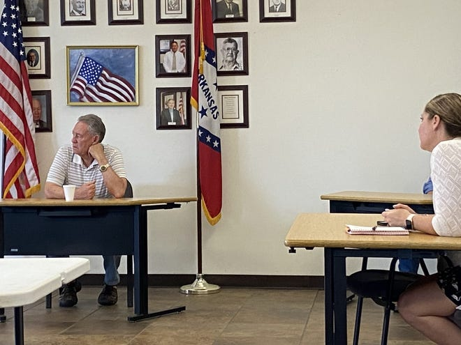 Mayor Jerry Wilkins and Steph Ostrin participate in a meeting between the city and Deserving Dogs Foster and Rescue.