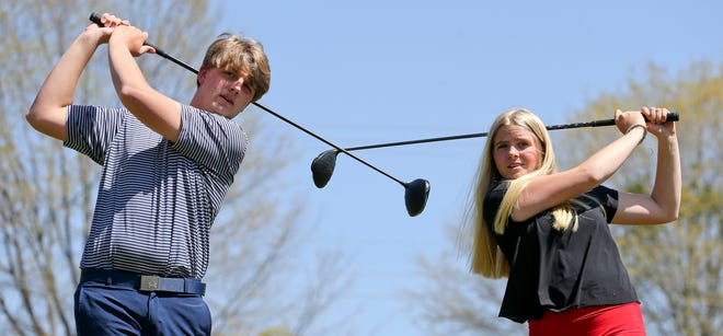 Anna Christian and William Beeker are a brother and sister golf tandem competing for Tuscaloosa Academy. Anna Christian is in the sixth grade while William is in the 11th. They pose for a photo Monday, April 5, 2021, at Indian Hills Country Club. [Staff Photo/Gary Cosby Jr.]
