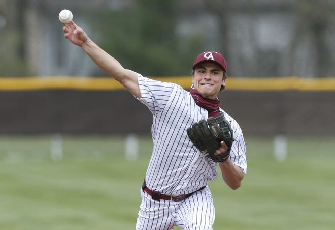Brady Hess delivers a pitch during Columbus Academy's 8-2 season-opening win over Grandview on April 5. The senior is expected to be the ace for the Vikings, whose roster features only 12 players this spring.